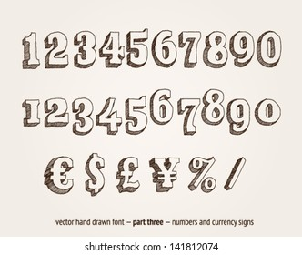 Vector hand drawn numbers and money signs