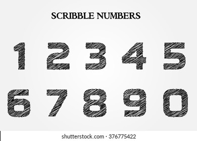 Vector hand drawn numbers.Scribble numbers set.
