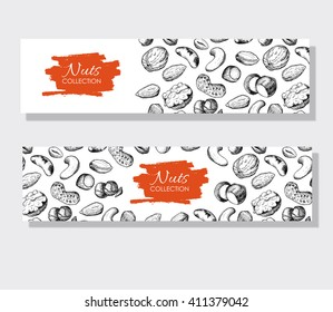 Vector hand drawn nuts banners. Engraved detailed illustrations. Great food banner, flyer, poster
