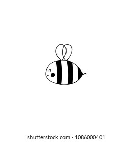 Vector hand drawn object, bee silhouette. Logo element for children related business branding and identity. Funny clipart for prints, t-shirts or stationery. Black on white isolated symbol.