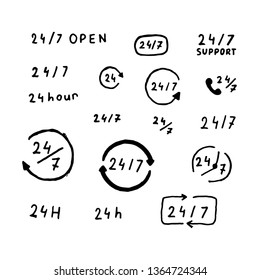 Vector hand drawn for open 24/7 hours sign. 24/7 open service hand drawn vector icons set.