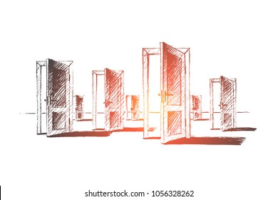 Vector hand drawn open doors concept sketch. Many open doors meaning problem of right choice and new opportunities.