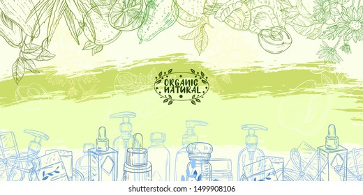 Vector hand drawn organic cosmetics banner with avocado, orange, aloe, coconut, chamomile, apricot and bottles. Natural cream, shampoo, serum, soap, on green abstract background in engraving style.