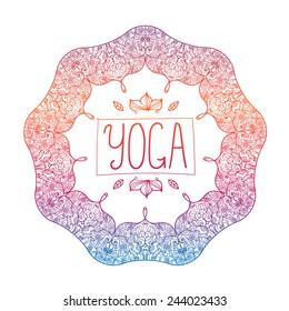 vector hand drawn ornamental colorful yoga badge, logo, icon