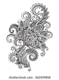 Vector hand drawn ornate flower pattern in zentangle style. Black and white graphic doodle illustration