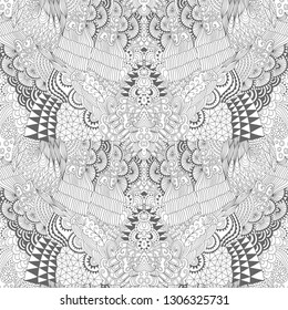 Vector hand drawn outline wave/curl seamless pattern in doodle style isolated on white background. Coloring book for adults and older children. Art vector illustration.