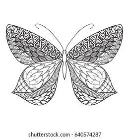 Vector hand drawn outline zentagle inspired doodle monochrome illustration of  butterfly, coloring book page for adult with high details.