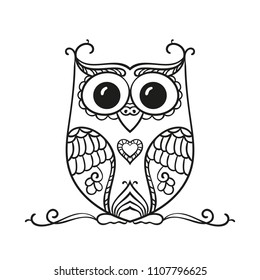 Vector hand drawn owl for adult and children coloring book, Black and white zentangle art illustration