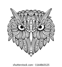 Vector hand drawn Owl face. Zentangle art. Ethnic patterned illustration for antistress coloring book, tattoo, poster, print, t-shirt.