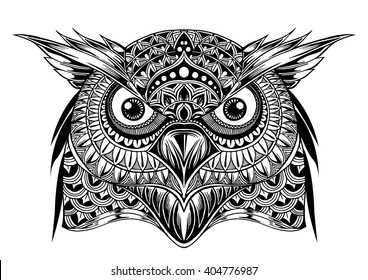 Vector hand drawn Owl face. Black and white zentangle art. Ethnic patterned illustration for antistress coloring book, tattoo, poster, print, t-shirt.