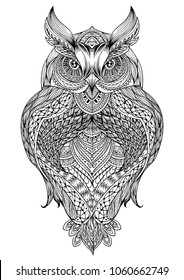 Vector hand drawn Owl sitting on branch. Black and white zentangle art. Ethnic patterned illustration for antistress coloring book, tattoo, poster, print, t-shirt.