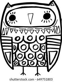 Vector hand drawn Owl sitting on branch. Black and white illustration for coloring book, tattoo, poster, print, t-shirt, cartoon doodle