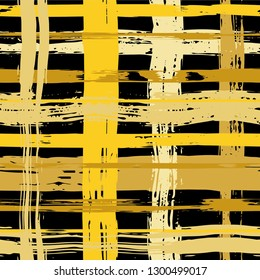 Vector hand drawn paint stripe seamless pattern. Vector striped graphic background. Ink brush strokes. Grunge stripes, trendy hipster paintbrush line. Texture squared lines backdrop