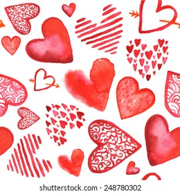 Vector hand drawn painted watercolor red hearts seamless background. Love, Valentine's Day