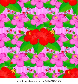 Vector hand drawn painting of hibiscus flowers, seamless pattern on pink background.