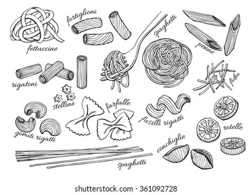Vector hand drawn pasta set. Vintage line art illustration.