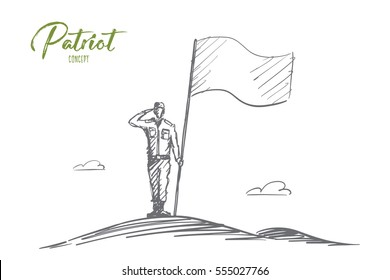 Vector hand drawn Patriot concept sketch with soldier in special uniform standing, salutting and holding big flag