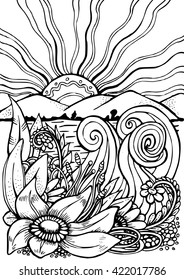 Vector hand drawn pattern. Anti stress coloring book page for adult. Black and white landscape with flowers, mountains and sun. Sketch by trace