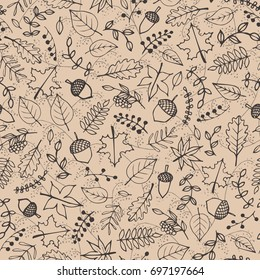Vector hand drawn pattern with autumn elements contours: foliage, berries and acorns on the beige background. Maple, sycamore, birch, beech and oak tree leaves. Line art for your design.