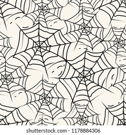Vector hand drawn pattern on the theme of Halloween. Pattern with Halloween symbols . Background for use in design  web site  packing  textile  fabric