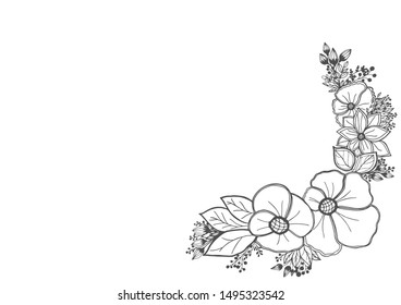 Vector hand drawn pattern with stylized orchid branch for your design on white background, pattern can be used for wallpaper. Vintage illustration with space for text