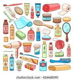 Vector hand drawn personal hygiene set of bathroom equipment, cosmetics and tools