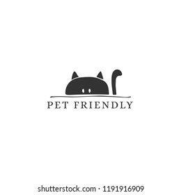 Vector hand drawn pet friendly sign, head of a curious cat. Pets allowed. Domestic animals. Black on white isolated symbol. Illustration for restaurant, cafe, hotel, shop etc.