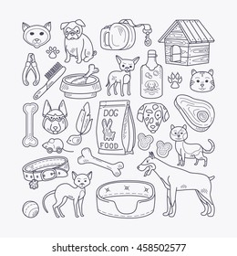Vector hand drawn pets. Doodle dog and cat signs