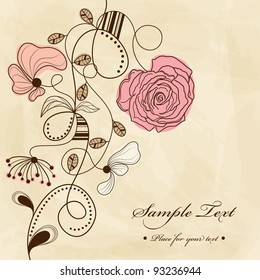 Vector hand drawn picture with flowers
