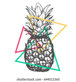 Vector hand drawn pineapple on white background. Exotic tropical fruit. Sketch. Pop art. Goods for invitations, greeting cards, posters.