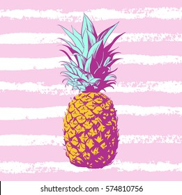 Vector hand drawn pineapple with striped background. Exotic tropical fruit. Sketch. Pop art. Perfect for invitations, greeting cards, posters.