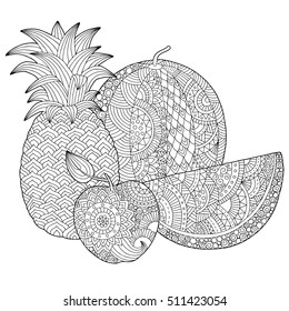 Vector hand drawn pineapple, watermelon, apple illustration for adult coloring book. Freehand sketch for adult anti stress coloring book page with doodle and zentangle elements
