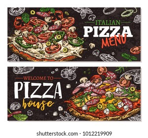 Vector hand drawn pizza pizzeria horizontal banners with chalkboard background. Design with sketch illustrations