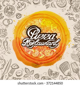 vector hand drawn pizza restaurant sketch and food doodle