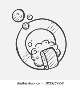 Vector hand drawn Plate and sponge in the foam outline doodle icon. Dish washing sketch illustration for print, web, mobile and infographics isolated on white background.