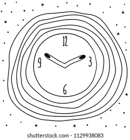 Vector hand drawn pocket watch outline doodle icon. Pocket watch sketch illustration for print, web, mobile and infographics isolated on white background.