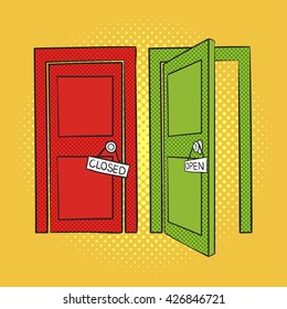Vector hand drawn pop art illustration of doors. Open and closed door. Retro style. Hand drawn sign. Illustration for print, web.