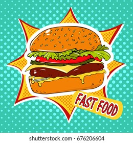 Vector hand drawn pop art illustration of burger. Fast food. Retro style. Healthy and unhealthy food. Restaurant business. Colorful image of a sandwich on a retro background in the style of comics