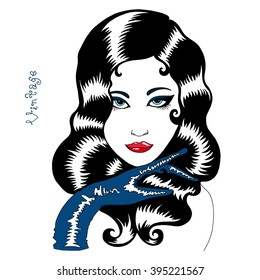 Vector hand drawn portrait of a beautiful sexy retro girl. Girl with wavy black hair, red lipstick on her lips pomodoy, blue glove on the hand, vintage handwriting, pop style. On a white background.