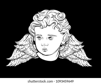 Vector hand drawn portrait of Cupid with wings isolated. Illustration made in realistic style. Template for card, poster, banner, print for t-shirt, pin, badge and patch.