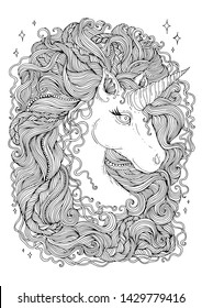 Vector hand drawn portrait of a fabulous unicorn with wavy developing hair mane with braided pigtails and beads. Coloring page sweet dreams. Design card, print t-shirts. Fairy tale mythical characters