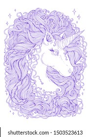 Vector hand drawn portrait of a fabulous unicorn with wavy developing hair mane with braided pigtails and beads. Purple lines Sweet dreams. Design card, print t-shirts. Fairy tale mythical characters