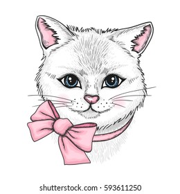 Vector hand drawn portrait of white cat with a pink bow. Cute kitten illustration