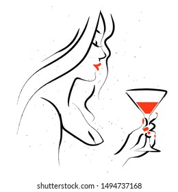 Vector hand drawn portrait of young beautiful lady with glass of vermouth isolated on white background. Hand drawn sketch minimal style. Concept for ladies night party, bar, happy cocktail hour banner