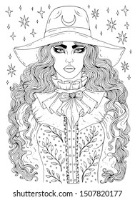 Vector hand drawn portrait of a young modern city witch. Young girl with long wavy hair and wide brim fashion hat. Ornamental Patterned page for coloring book. Design card, print on t-shirt  Halloween