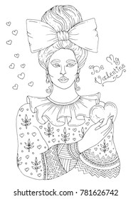 Vector hand drawn portrait of a young girl with a bundle of hair pinned with a bow holding a heart in her hand. Patterned coloring page A 4 size. A date for St. Valentine's Day