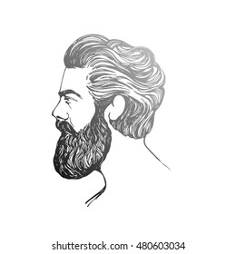 Vector. Hand drawn poster with bearded man head. Trendy style,inspirational poster. Hipster hair and beards.