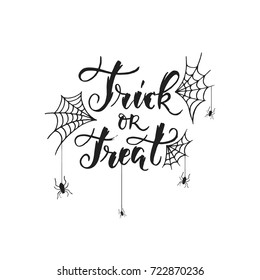 Vector hand drawn poster with hand-lettering, scary spiders and spiderweb isolated on white.  Trick or Treat greeting card. Perfect design element for poster or banner.