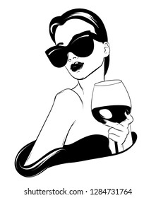 Vector hand drawn realistic illustration of woman with glass of wine isolated. Creative tattoo artwork. Template for card, poster. banner, print for t-shirt, pin, badge, patch.
