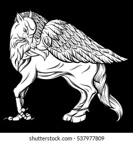 Vector hand drawn realistic illustration of hippogriff in line style. Mythological magic religion victorian motif, tattoo design element. Heraldry and logo concept art. Template for card poster banner
